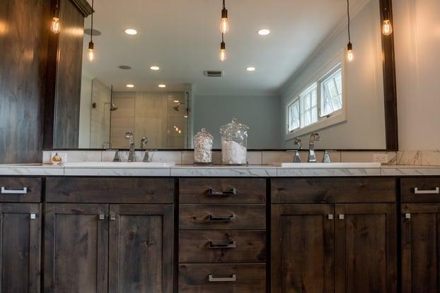 elegant bathroom with wood vanity